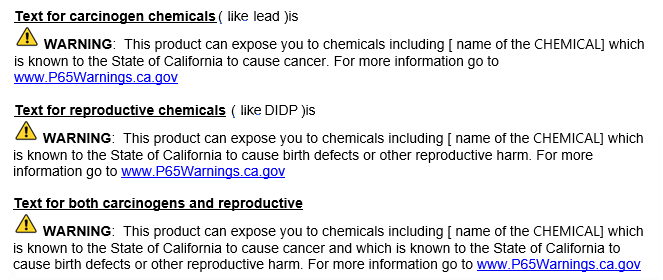 California Proposition 65 - Long Form